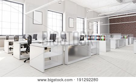 Modern Open Office Space  With Desks And Chairs