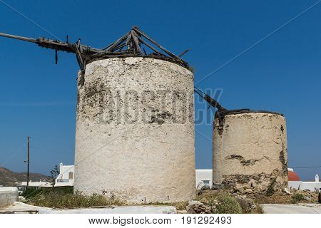 Ruins of old windmills in town of Ano Mera, island of Mykonos, Cyclades, Greece