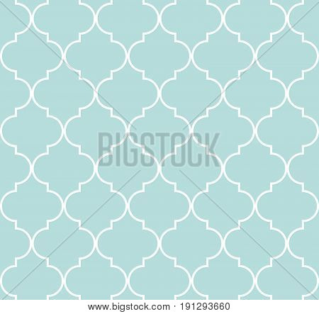 Quatrefoil geometric seamless pattern background vector illustration in mint blue soft turquoise color and white.