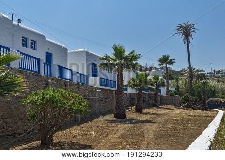 White houses in town of Mykonos, Cyclades Islands, Greece