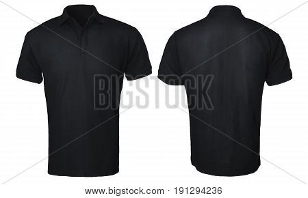 Blank polo shirt mock up template front and back view isolated on white plain black t-shirt mockup. Polo tee design presentation for print.