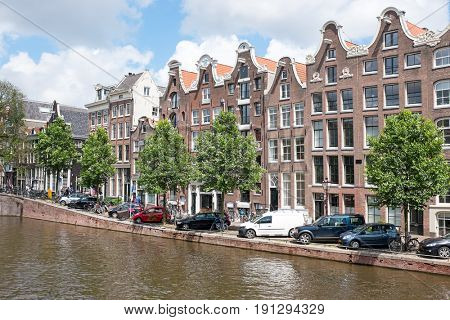 Dutch traditonal houses at the Prinsengracht in Amsterdam the Netherlands