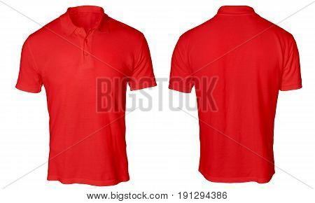 Blank polo shirt mock up template front and back view isolated on white plain red t-shirt mockup. Polo tee design presentation for print.