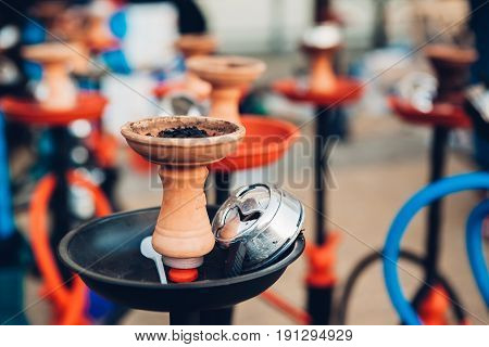 Hookah for smoking close-up on blurred background