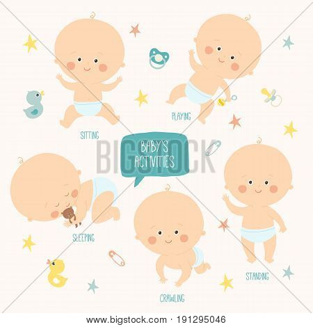 Set with cute baby boys 0-12 months. Various poses. First year activities. Sleeping, sitting, playing, standing, crawling. Cartoon hand drawn vector Illustration eps 10 illustration isolated on white