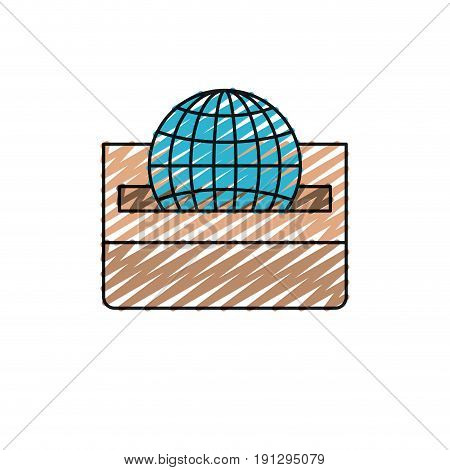 color crayon silhouette front view flat globe earth world chart depositing in a carton box vector illustration