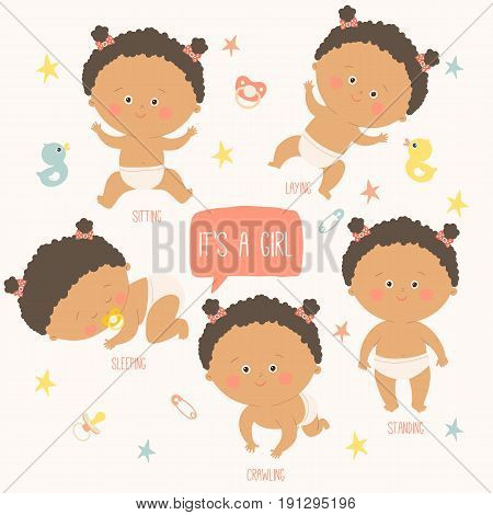 Baby toddler set with babies in diapers. Crawling, sitting, standing, playing, sleeping. African american baby. Vector Illustration on a white background.