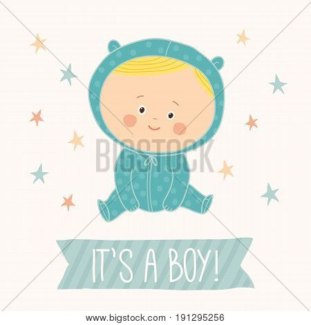 Baby shower card for baby boy. Cute baby boy sitting. Blond toddler boy. Cartoon vector hand drawn eps 10 illustration isolated on white background.