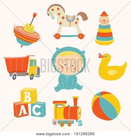 Baby boy with toys : ball, blocks, rubber duck, rocking horse, toy train, pyramid, spinning top, toy truck. Cartoon vector hand drawn eps 10 illustration isolated on white background.