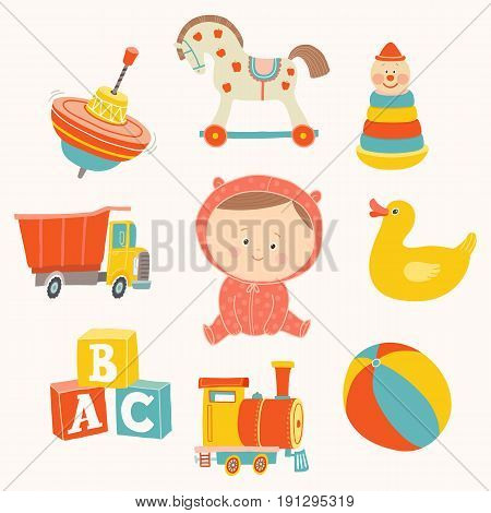 Baby girl with toys : ball, blocks, rubber duck, rocking horse, toy train, pyramid, spinning top, toy truck. Cartoon vector hand drawn eps 10 illustration isolated on white background.