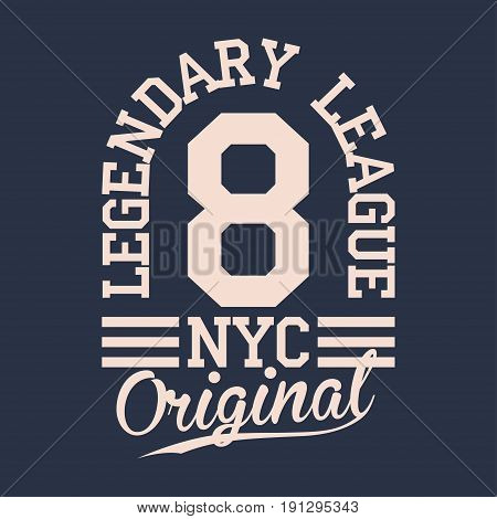 Vintage Label, Athletic Sport Typography For T Shirt Print. Varsity Style. T-shirt Graphic