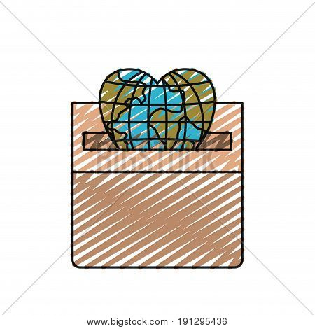 color crayon silhouette front view flat globe earth world in heart shape depositing in a carton box vector illustration