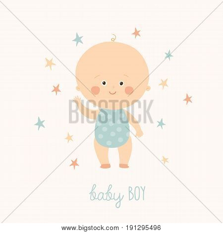 Baby shower card for baby boy. Cute baby boy standing. Blond toddler boy. Cartoon vector hand drawn eps 10 illustration isolated on white background.