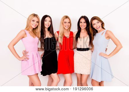 Multiethnic Beauty, Fashion And Woman Concept. Five Cute Ladies In Colorful Short Cocktail Dresses A