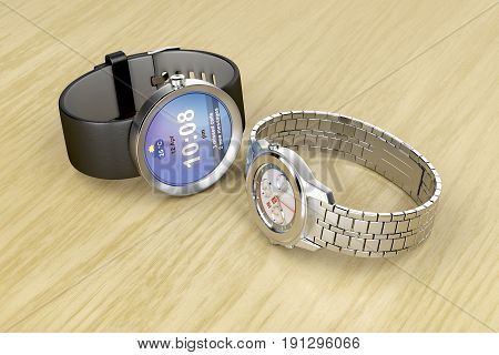 Smart and mechanical wrist watches on wooden table, 3D illustration