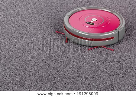 Cleaning the carpet with robotic vacuum cleaner, 3D illustration