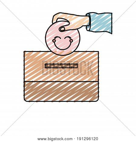 color crayon silhouette front view hand with flat pink happy face depositing in a carton box vector illustration