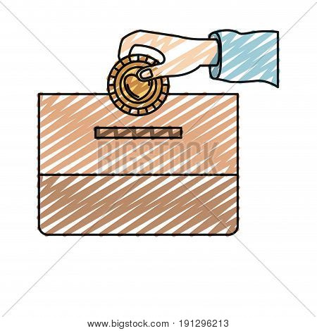 color crayon silhouette front view hand with flat coin with heart symbol inside depositing in a carton box vector illustration