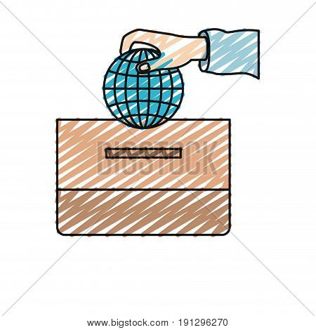 color crayon silhouette front view hand with flat globe earth world chart depositing in a carton box vector illustration
