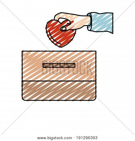 color crayon silhouette front view hand with flat heart depositing in a carton box vector illustration