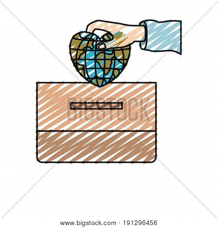 color crayon silhouette front view hand with flat globe earth world in heart shape depositing in a carton box vector illustration