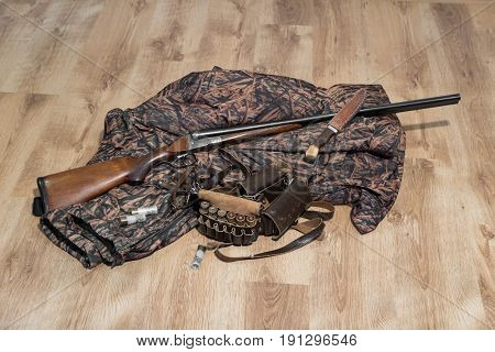 Old Double-barreled Shotgun, Camouflage Jacket, Knife In Scabbard, Amunition Belt And Cartridges For