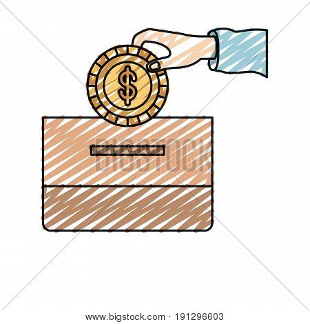 color crayon silhouette front view hand with flat coin with dollar symbol depositing in a carton box vector illustration