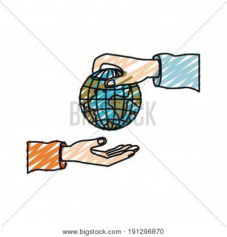 color crayon silhouette palm human holding a earth globe world charity symbol to deposit in other hand vector illustration