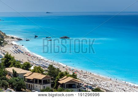 KATHISMA BEACH, LEFKADA, GREECE JULY 16, 2014: Panoramic view of Kathisma beach , Lefkada, Ionian Islands, Greece