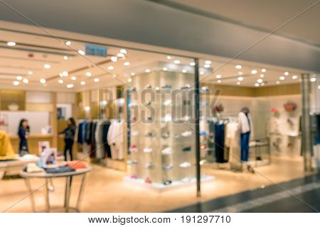 Abstract Blurred Photo Of Fashion Store In Shopping Mall Which Have Clothing Bag And Shoes, Shopping