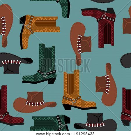 Cowboy Pattern. Australian Hat And Crocodile Leather Boots. Western Clothing And Rodeo Shoes Backgro