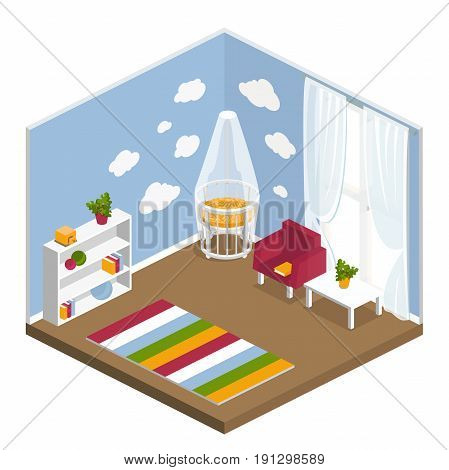 the interior of the nursery in the isometric. children's room furniture children's bed, chair, table, wardrobe, toys, carpet, window. vector illustration of isolated layers on a white background