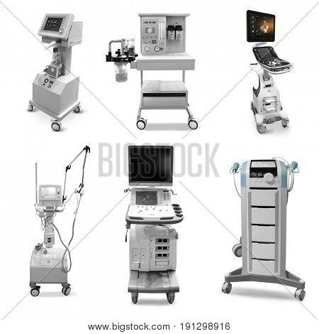 Different modern hospital equipment on white background