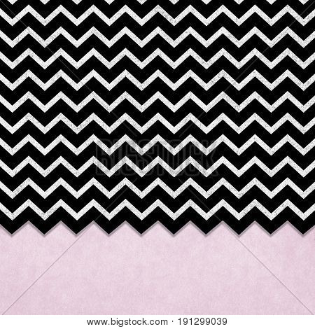 black and silver chevron design with blush pink textured border