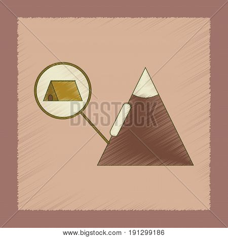 flat shading style icon of tent tourists snow avalanche