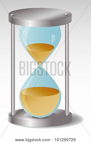 Glass Hourglass with metal hats Two thirds of the sand flowed out