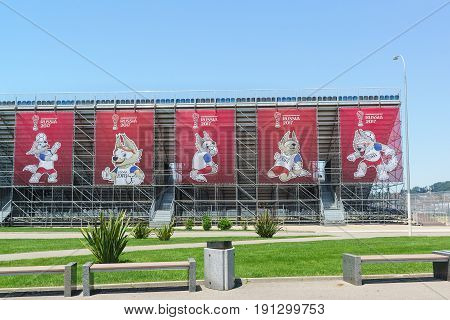 The Official Mascot Of The Fifa World Cup 2018 Held In Russia, On Banners In The Olympic Park. Prepa
