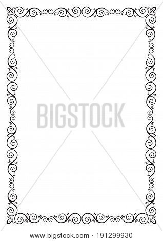 Ornate rectangular black frame for page decoration, title, card, label. A3 page proportions.