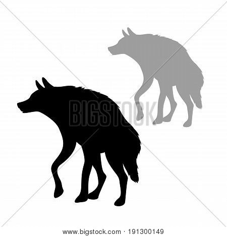 hyena  vector illustration style Flat side silhouette black