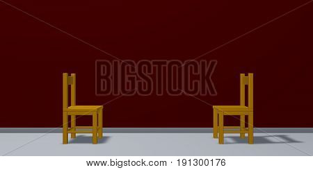 Two chairs are facing each other - 3d rendering