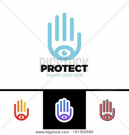 Logo Of A Stylized Hand With Eye Symbol. This Logo Is Suitable For Many Purpose As Multimedia Firm,