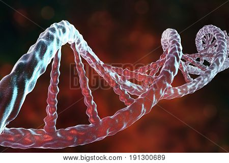 Double helix of DNA. Science background. 3D illustration
