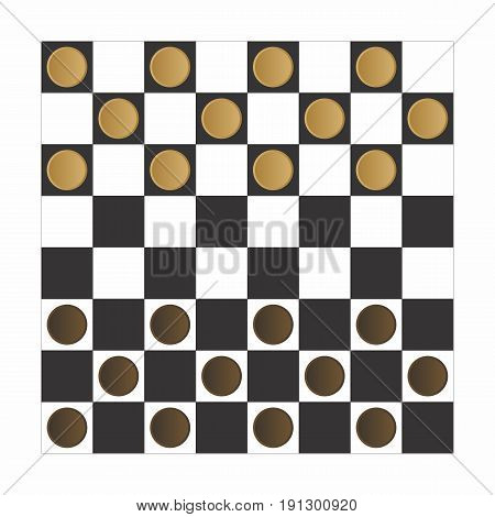 Vector Illustration of a checker board game with brown and beige pieces