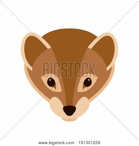 weasel   face vector illustration style Flat front side