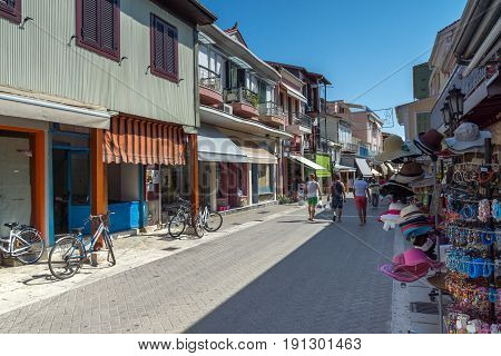 LEFKADA TOWN, GREECE JULY 17, 2014: Panoramic view of Lefkada town, Ionian Islands, Greece