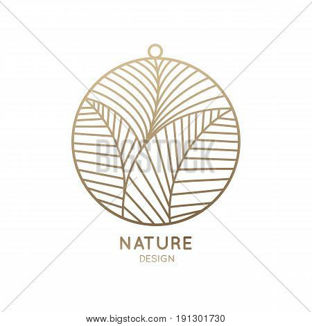 Vector round logo with floral element. Abstract  flower with petals - pendant. Linear icon for design of jewelry, natural products, flower shop, cosmetics, health, spa and yoga Center.