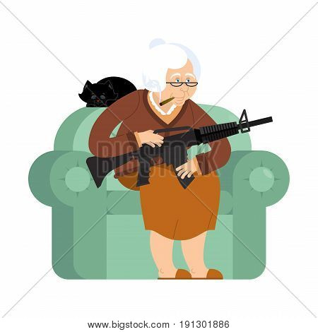 Grandmother With Gun. Old Woman In An Armchair With Tommy Gun And Cat. Grandma With Rifle. Protectio
