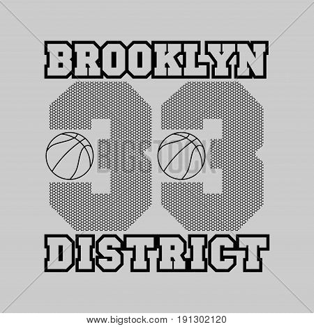 t-shirt basketball fashion Typography sport emblem design Number with floral ornament graphic Print label