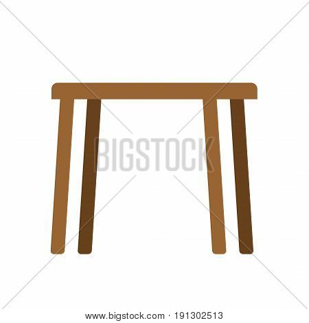 Wooden Table Empty Isolated. Furniture On White Background