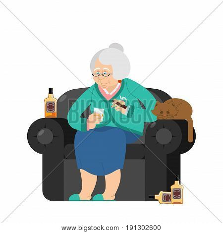 Grandmother Drinks Alcohol And Smoke Cigar. Old Woman In An Armchair With Bottle Whiskey. Grandma An